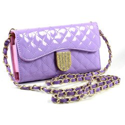 iPhone 6 Plus Note 4 Universal Diamond Flip Wallet Strap Purse Case (Purple)