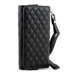 iPhone 5 5C 5S Universal Flip Leather Wallet Case with Strap (Black)