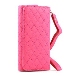 iPhone 5 5C 5S Universal Flip Leather Wallet Case with Strap (Hot Pink)