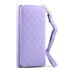 iPhone 5 5C 5S Universal Flip Leather Wallet Case with Strap (Purple)