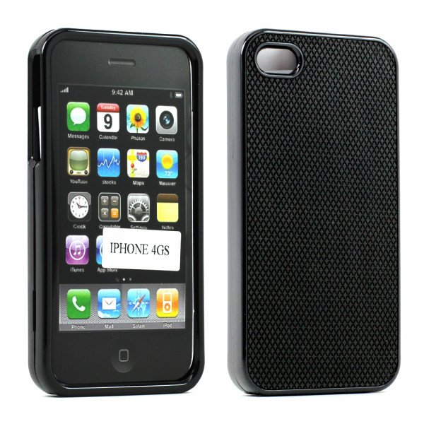 Wholesale iPhone 4S 4 Anti-Slip Hard Protector Cover (Black)