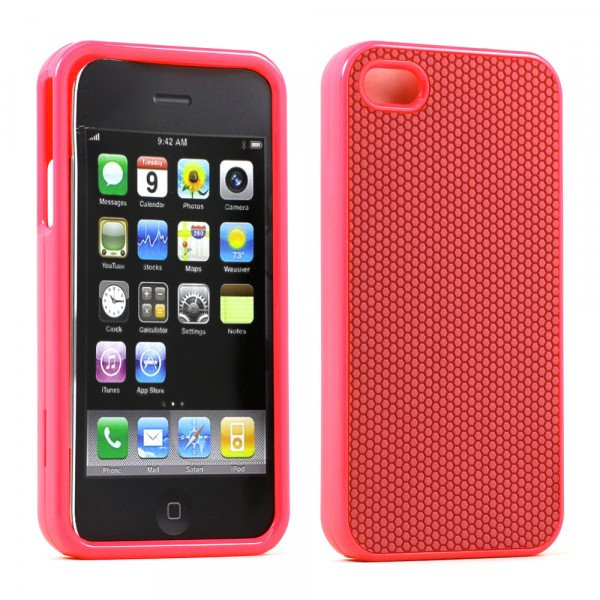 Wholesale iPhone 4S 4 Anti-Slip Hard Protector Cover (Pink)