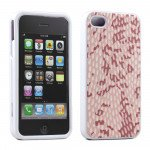 Wholesale iPhone 4S 4 Anti-Slip Hard Protector Cover (Pink-White)