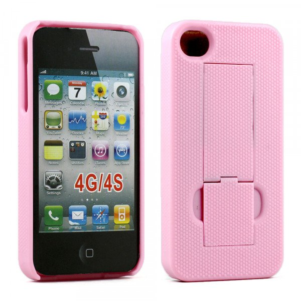 Wholesale iPhone 4S Kick Stand Case (Pink)