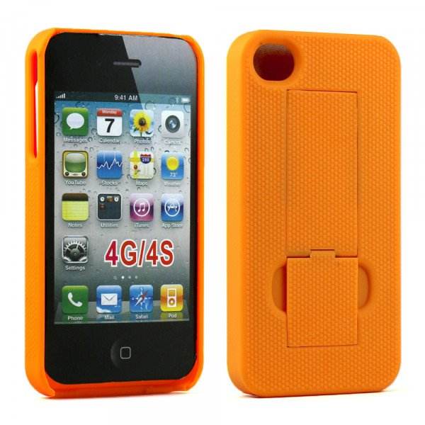 Wholesale iPhone 4S Kick Stand Case (Yellow)