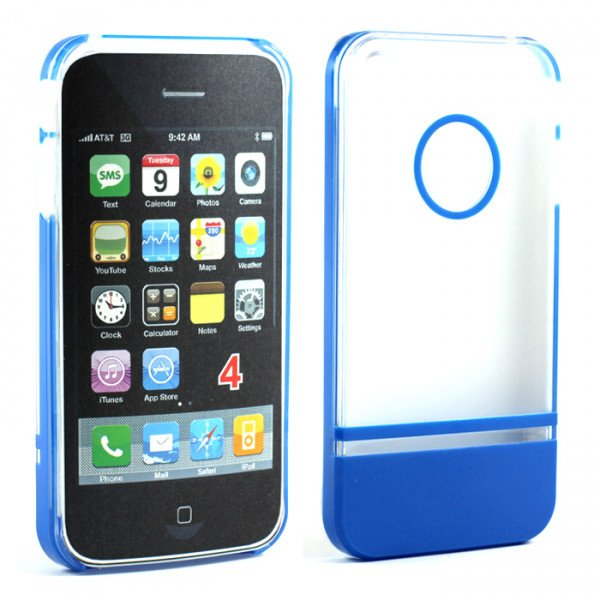 Wholesale iPhone 4 4S Two Tone Case (ClearBlue)