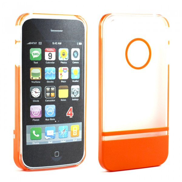 Wholesale iPhone 4 4S Two Tone Case (ClearOrange)