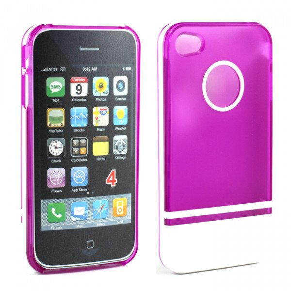 Wholesale iPhone 4 4S Two Tone Case (PurpleWhite)