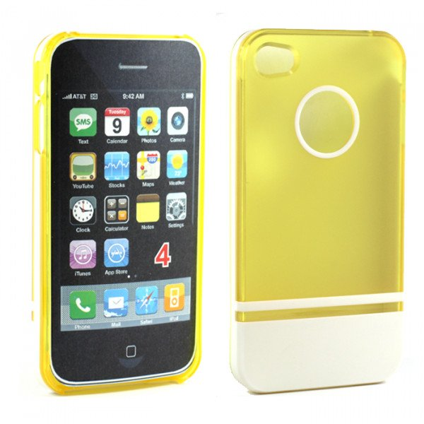 Wholesale iPhone 4 4S Two Tone Case (YellowWhite)