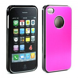 iPhone 4 4S Aluminum Snap On Case (Hot Pink)