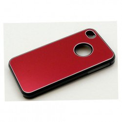 iPhone 4 4S Aluminum Snap On Case (Red)