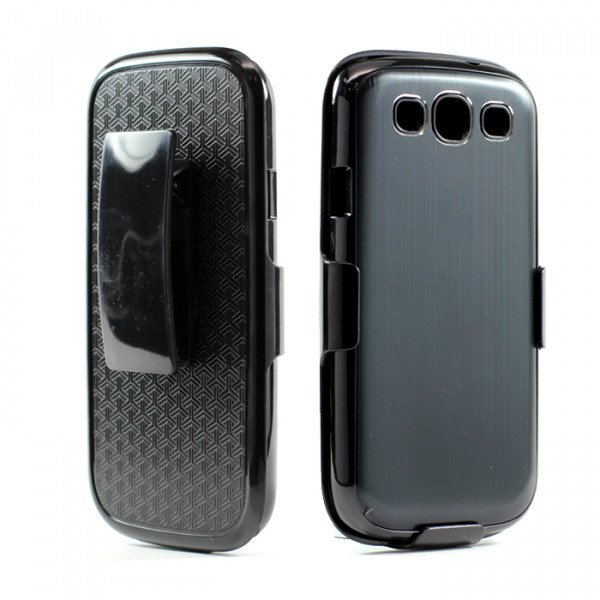 Wholesale Samsung Galaxy S3 / i9300 Aluminum Case with Holster Clip (Black)