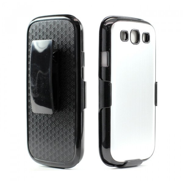 Wholesale Samsung Galaxy S3 / i9300 Aluminum Case with Holster Clip (Silver)