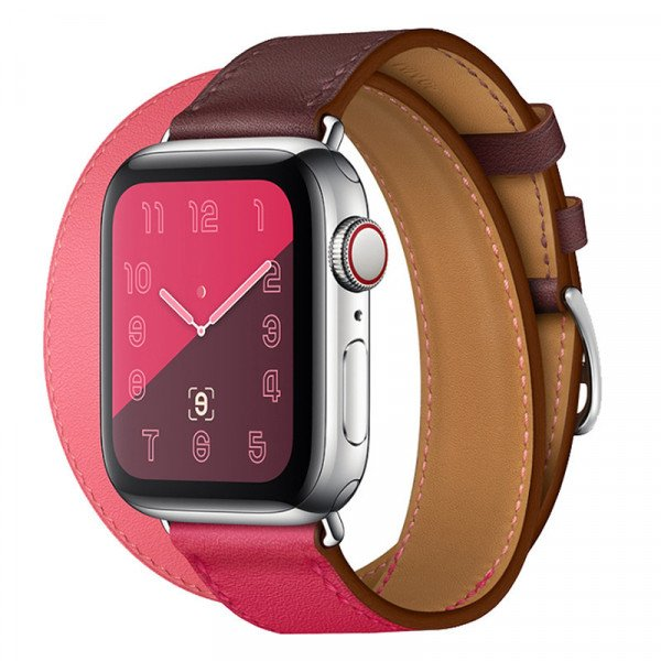 Wholesale Tour Leather Band Loop Strap Wristband Replacement for Apple Watch Series 4 / 3 / 2 / 1 Sport - 44MM / 42MM (Hot Pink)