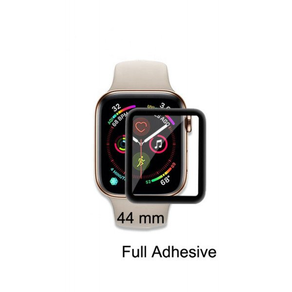 Wholesale Apple Watch Series 4 Tempered Glass Full Adhesive Glue Screen Protector 44MM (Black Rim)