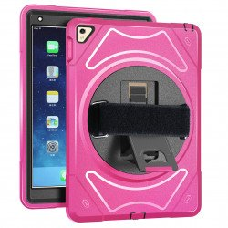 iPad Pro 10.5 (2017) Defender Case 360 Degree Swivel Kickstand Hand Grip Handle (Hot Pink)