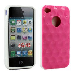 iPhone 4 4S Circle Gummy Case (Pink-White)