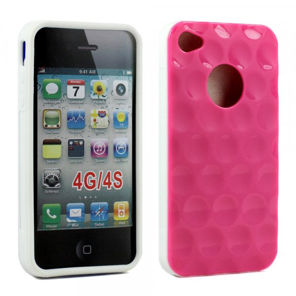 Wholesale iPhone 4 4S Circle Gummy Case (Pink-White)