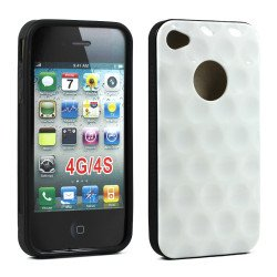 iPhone 4 4S Circle Gummy Case (White-Black)