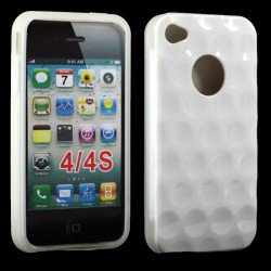 iPhone 4 4S Circle Gummy Case (White-Clear)