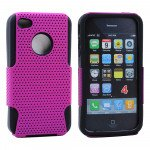 Wholesale iPhone 4 4S Mesh Hybrid Case (Purple-Black)