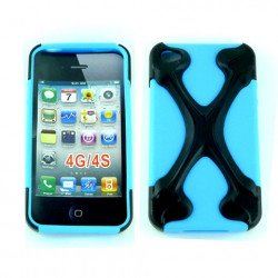 iPhone 4 4S X Case (Black-Blue)