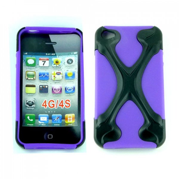 Wholesale iPhone 4 4S X Case (Black-Purple)