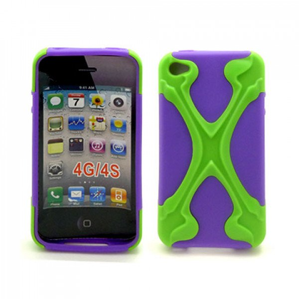 Wholesale iPhone 4 4S X Case (Green-Purple)