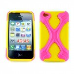 Wholesale iPhone 4 4S X Case (Pink-Yellow)