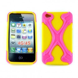 iPhone 4 4S X Case (Pink-Yellow)