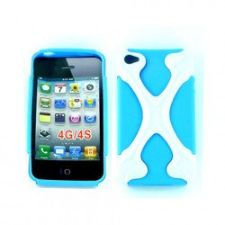 iPhone 4 4S X Case (White-Blue)