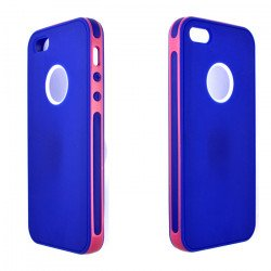 iPhone 5 5S 2 in 1 Hybrid Case (Pink-Blue)