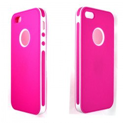 iPhone 5 5S 2 in 1 Hybrid Case (White-Hot Pink)