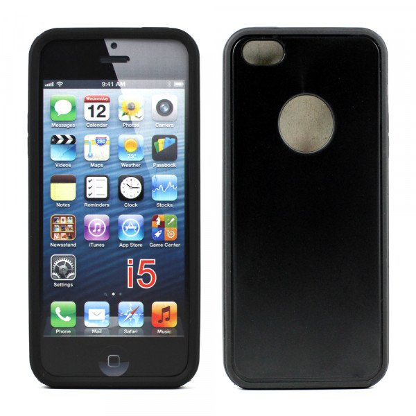 Wholesale iPhone 5 5S Gummy Hybrid Case (Black Black)
