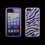 Wholesale iPhone 5 5S Zebra Hybrid Case (White-Purple)
