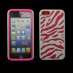 iPhone 5 5S Zebra Hybrid Case (White-Pink)