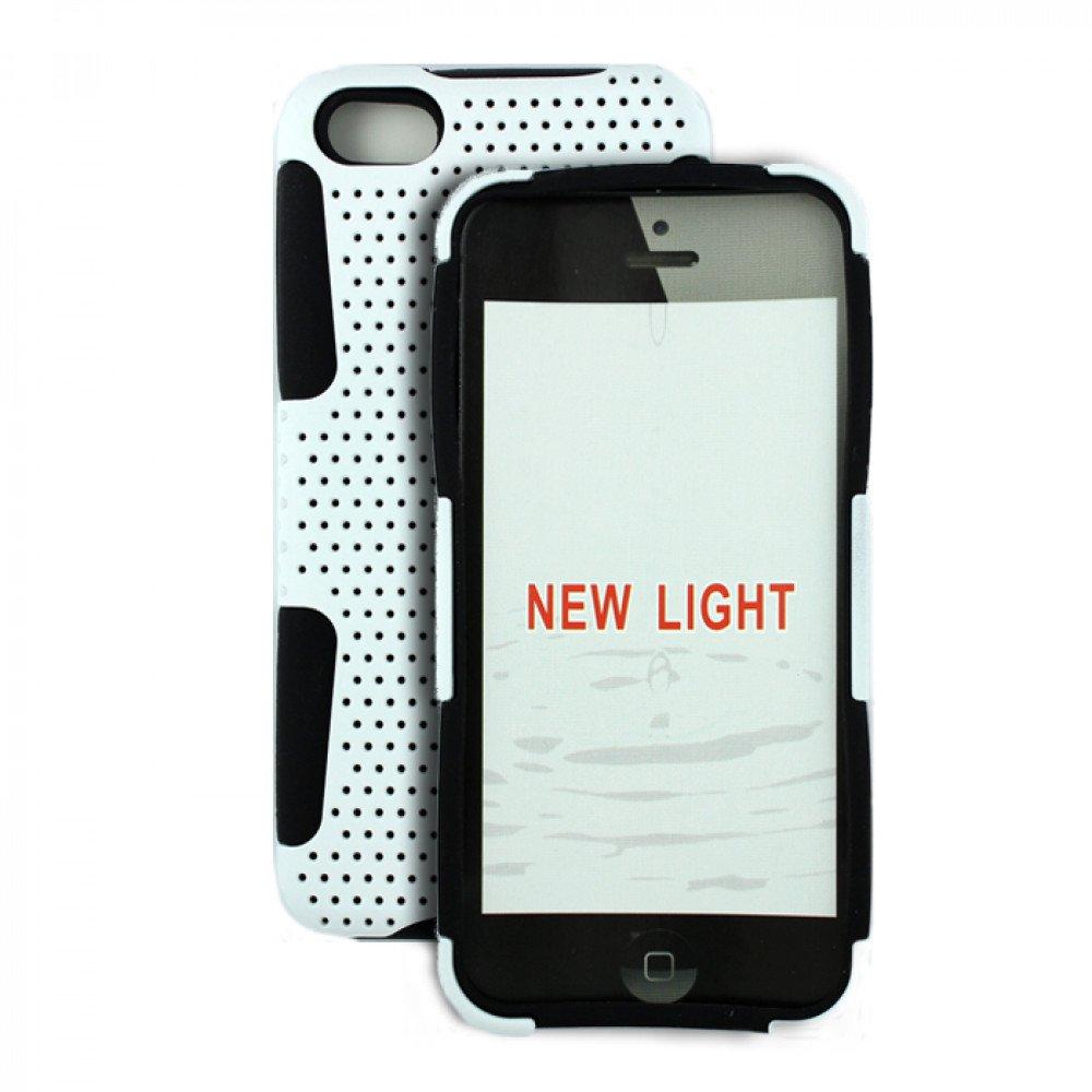 Wholesale iPhone 5C Mesh Hybrid Case (White - Black)
