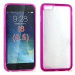 Wholesale iPhone 6 Plus 5.5 inch Gummy Hybrid Case (Pink Clear)