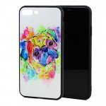 Wholesale iPhone 8 Plus / 7 Plus Design Tempered Glass Hybrid Case (Color Dog)