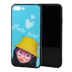 iPhone 8 / 7 Design Tempered Glass Hybrid Case (Cute Girl)