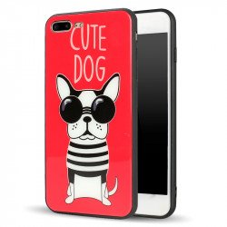 iPhone 8 Plus / 7 Plus Design Tempered Glass Hybrid Case (Cute Dog)