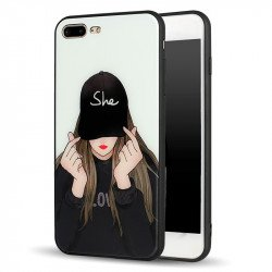 iPhone 8 Plus / 7 Plus Design Tempered Glass Hybrid Case (She Girl)