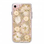 iPhone 8 Plus / 7 Plus / 6S Plus / 6 Plus Luxury Glitter Dried Natural Flower Petal Clear Hybrid Case (Gold Yellow)
