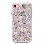 iPhone 8 Plus / 7 Plus / 6S Plus / 6 Plus Luxury Glitter Dried Natural Flower Petal Clear Hybrid Case (Silver Pearl)
