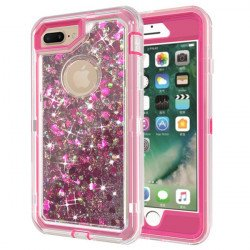 iPhone 8 Plus / 7 Plus / 6S Plus / 6 Plus Star Dust Clear Armor Defender Case (Hot Pink)