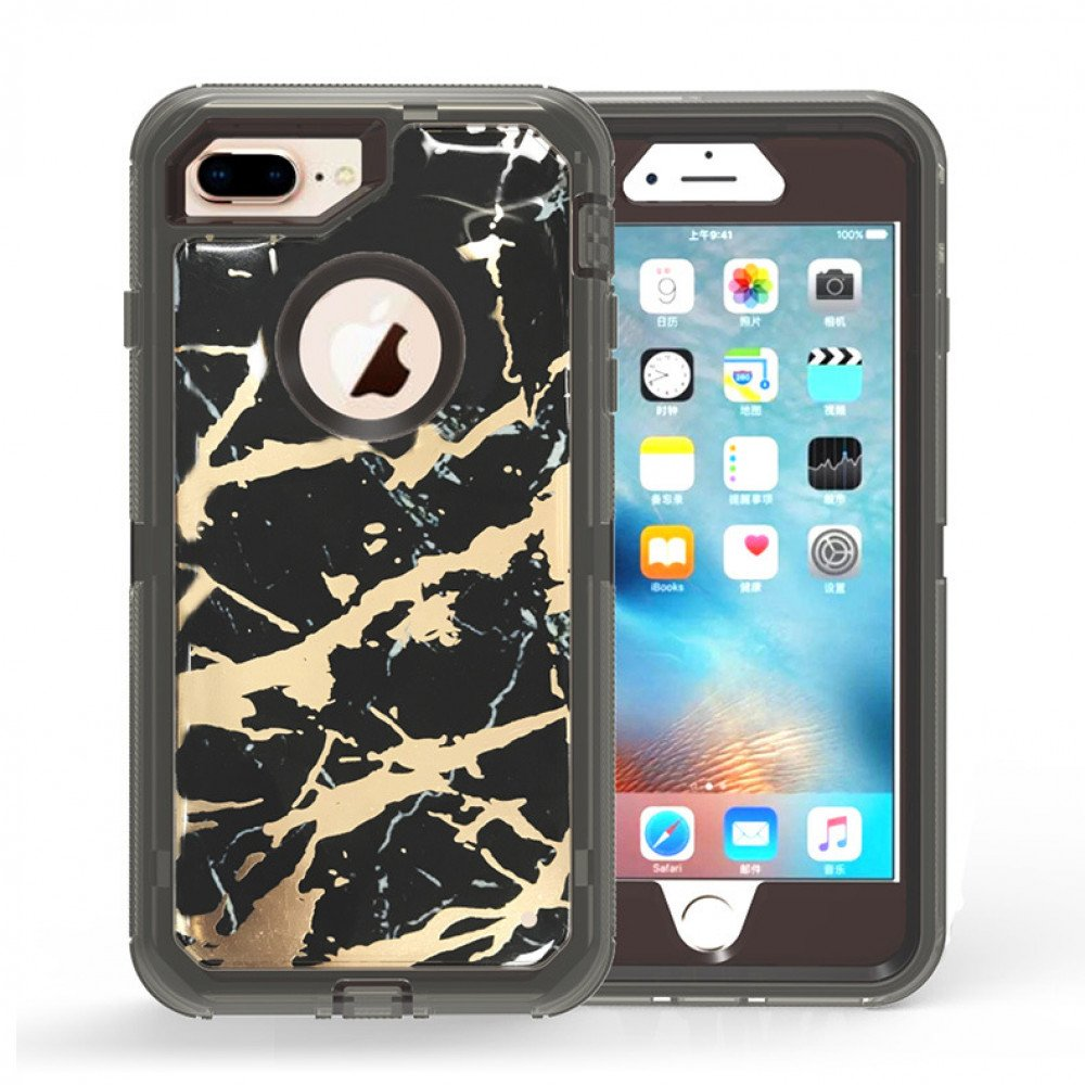 buy popular b7c3e 8aa56 Wholesale iPhone 8 Plus / 7 Plus Marble Design Clear Armor Defender Case  (Black)