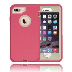 iPhone 8 Plus / 7 Plus / 6S / 6 Plus Premium Armor Defender Case (Hot Pink White)