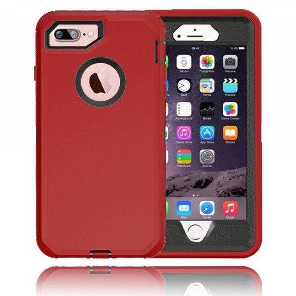Wholesale iPhone 8 Plus / 7 Plus / 6S / 6 Plus Premium Armor Defender Case (Red Black)