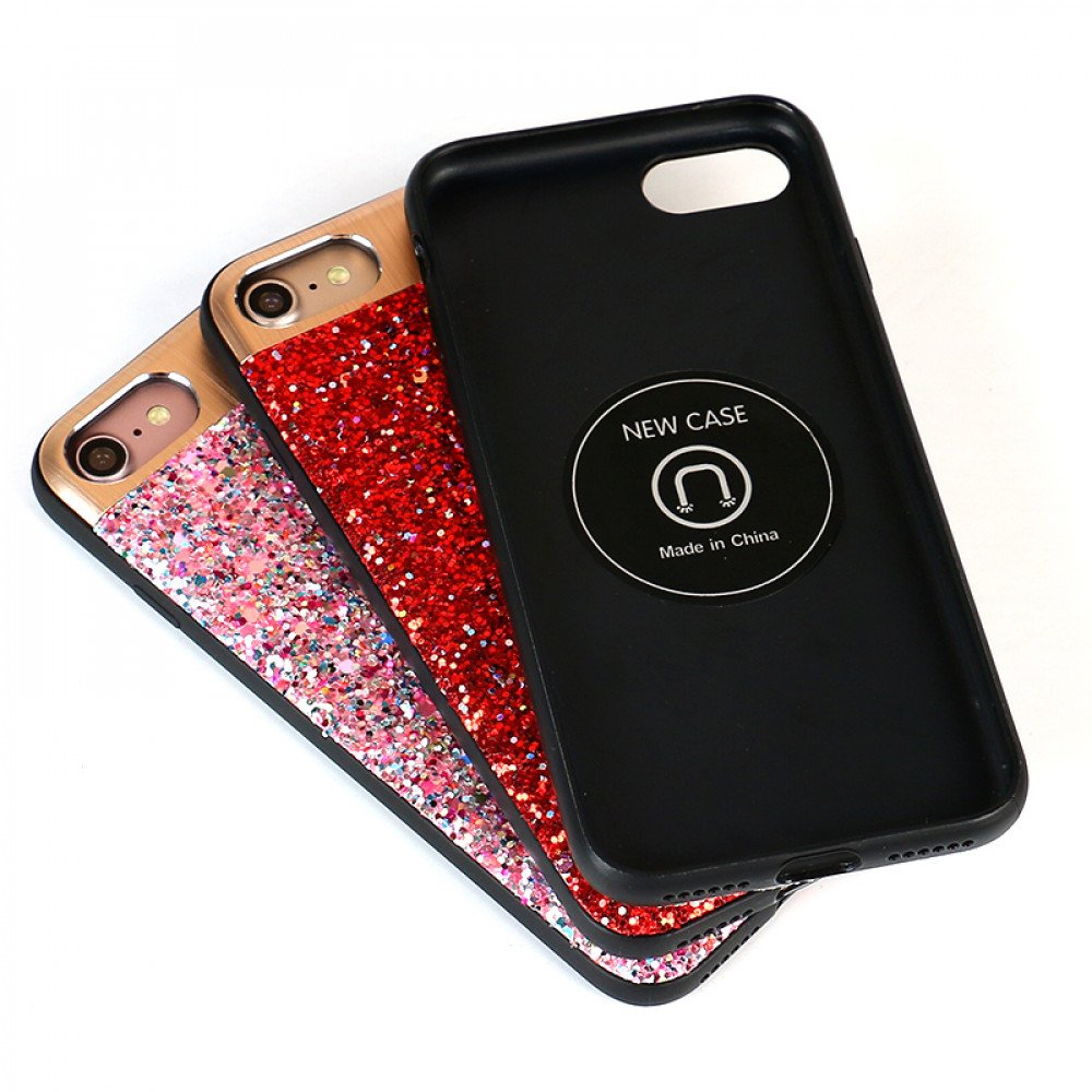 02be8c9b5e Wholesale iPhone 8 Plus / 7 Plus Sparkling Glitter Chrome Fancy Case with  Metal Plate (Red)