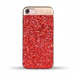 iPhone 8 Plus / 7 Plus Sparkling Glitter Chrome Fancy Case with Metal Plate (Red)